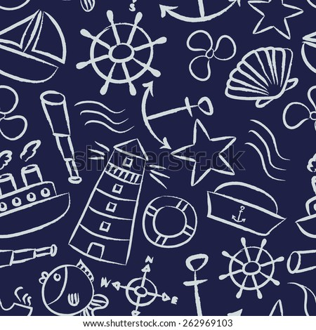 nautical sketch doodle vector icons seamless blue pattern eps10