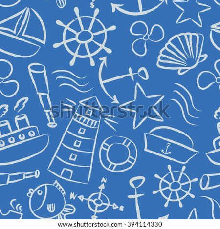 nautical sketch doodle vector icons seamless light blue pattern eps10