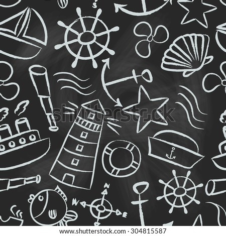 nautical sketch doodle vector icons seamless pattern eps10