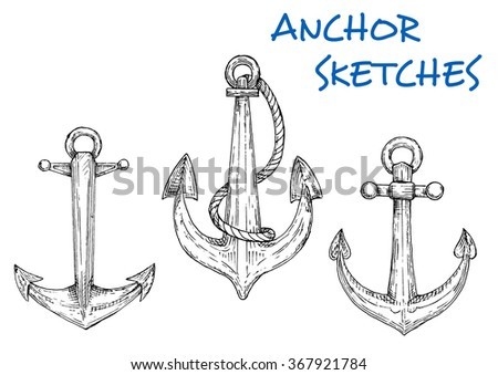 Nautical sketch of old ship anchors icons with rings and attached rope. Navy emblem, nautical heraldry symbol or vintage embellishment design usage