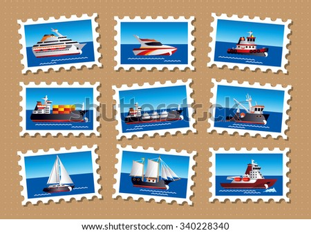Nautical stamps - stock vector