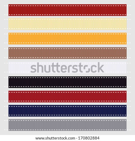 Nautical Themed Grosgrain Ribbon, Vector Illustration. Also see other ribbon sets.  - stock vector