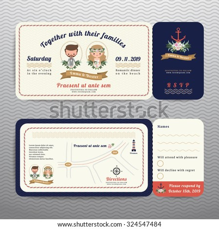 Nautical ticket hipster bride and groom wedding invitation and RSVP card on wave background - stock vector