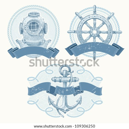 Nautical vector emblems with hand drawn elements - old diving helmet, ship steering wheel and anchor - stock vector