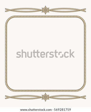 nautical vector frame with ropes vintage frame from cord illustration - Nautical Picture Frame
