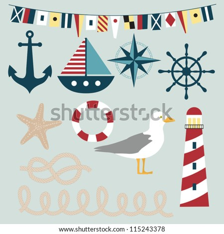 Nautical vector images - stock vector
