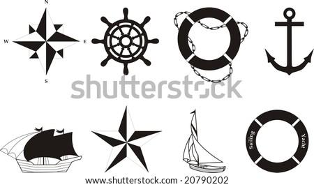 Nautical vector symbols - stock vector