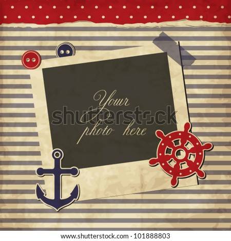 nautical vintage card scrapbook template with frame for your photo