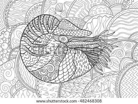 Adult Antistress Coloring Page Black White Hand Drawn Zendoodle Oceanic
