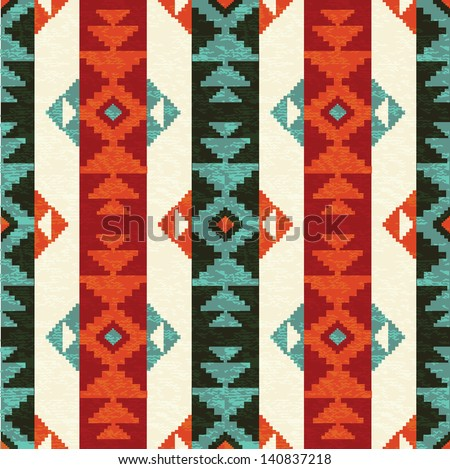 Navajo style striped seamless pattern - stock vector