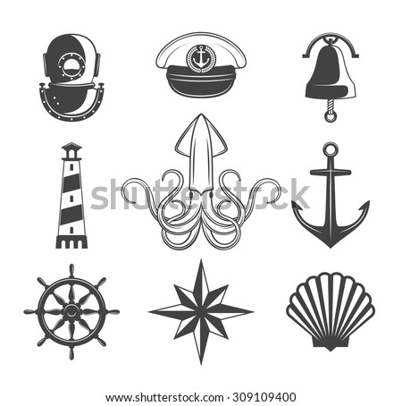Naval symbols collection. Black icons isolated on white. - stock vector