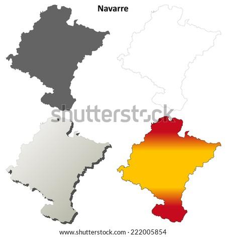 Navarre blank detailed outline map set - vector version - stock vector