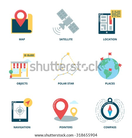 Navigation and location vector icons set modern flat style - stock vector