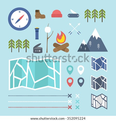 navigation and outdoor adventures icons (camping and hiking equipment elements). map location icons (map, compass, map pointer). vector illustration - stock vector