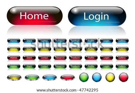 Navigation buttons set for your website with interesting pattern, editable vector. - stock vector