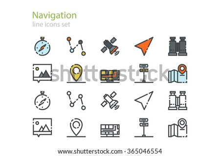 Navigation color and colorless icons. Line art. Stock vector. - stock vector