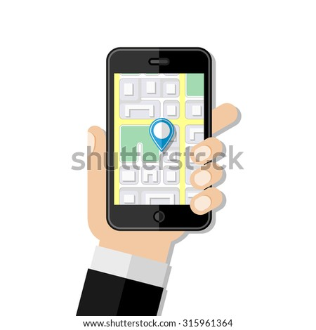 Navigation concept. Flat design. Vector illustration.  - stock vector