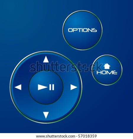 Navigation control buttons - stock vector