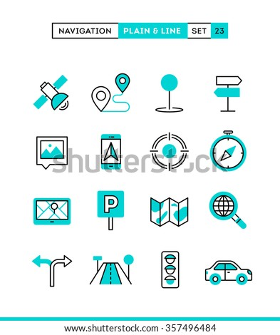 Navigation, direction, maps, traffic and more. Plain and line icons set, flat design, vector illustration - stock vector
