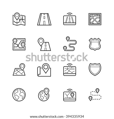 Navigation, direction, maps, traffic thin line icon set - stock vector