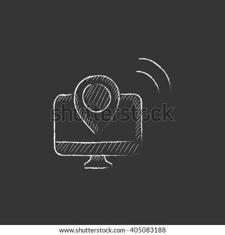 Navigation. Drawn in chalk icon. - stock vector