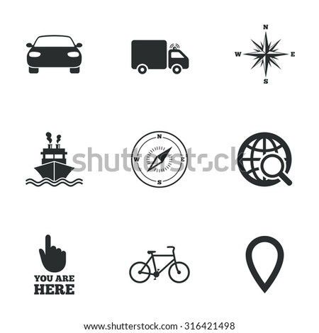 Navigation, gps icons. Windrose, compass and map pointer signs. Bicycle, ship and car symbols. Flat icons on white. Vector - stock vector