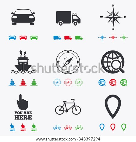 Navigation, gps icons. Windrose, compass and map pointer signs. Bicycle, ship and car symbols. Flat black, red, blue and green icons. - stock vector