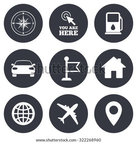 Navigation, gps icons. Windrose, compass and map pointer signs. Car, airplane and flag symbols. Gray flat circle buttons. Vector - stock vector
