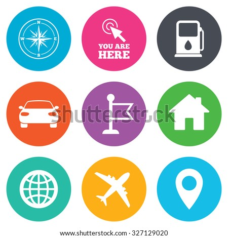 Navigation, gps icons. Windrose, compass and map pointer signs. Car, airplane and flag symbols. Flat circle buttons. Vector - stock vector