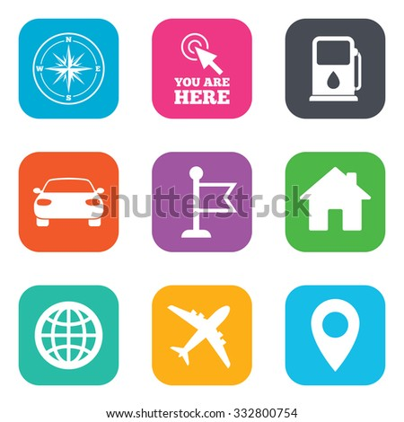 Navigation, gps icons. Windrose, compass and map pointer signs. Car, airplane and flag symbols. Flat square buttons. Vector - stock vector