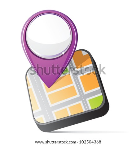 Navigation icon with map and purple pin, EPS10 with one transparent path - stock vector