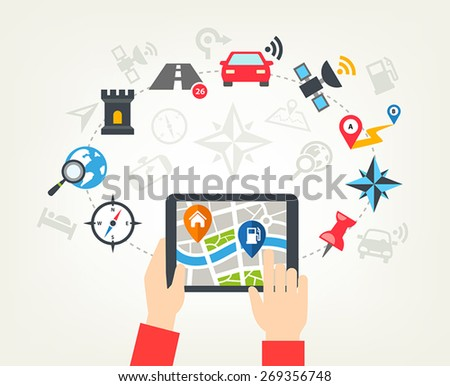 Navigation icons background - human hands holding a tablet and checking a map with navigation icons or a mobile app. - stock vector