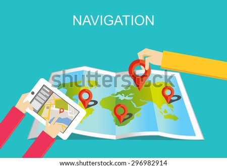 Navigation illustration. Location finding and map marker concept.   - stock vector