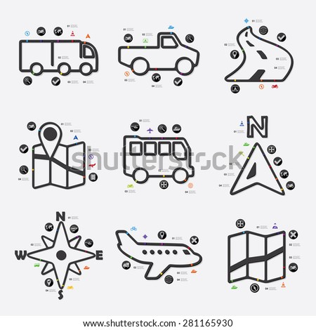 navigation line infographic illustration. Fully editable vector file - stock vector