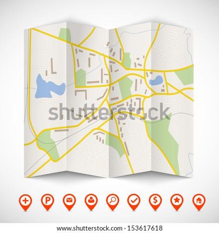 Navigation map - stock vector