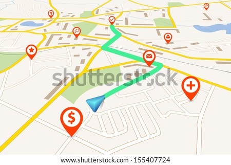 Navigation map - stock vector