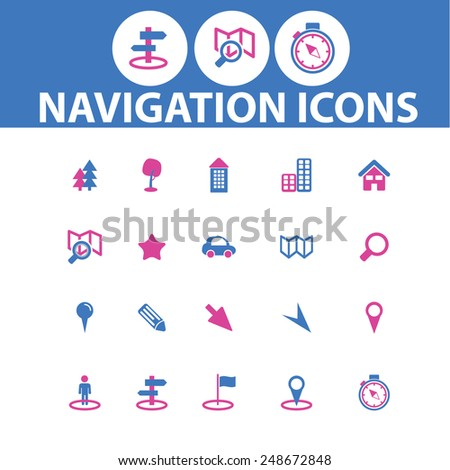 navigation, map icons, signs set, vector - stock vector
