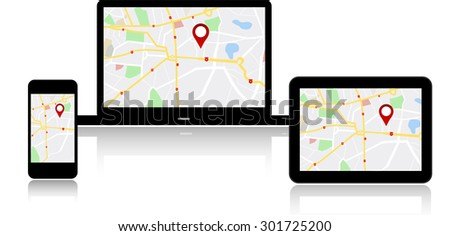 Navigation map on on modern digital devices - stock vector