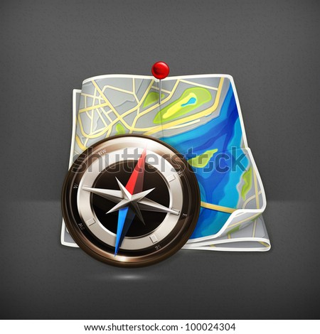 Navigation map, vector - stock vector