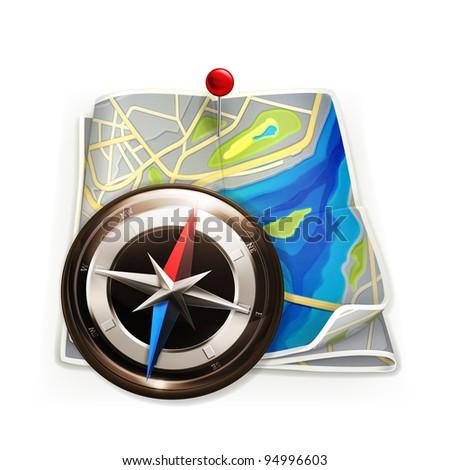 Navigation map, vector - stock vector