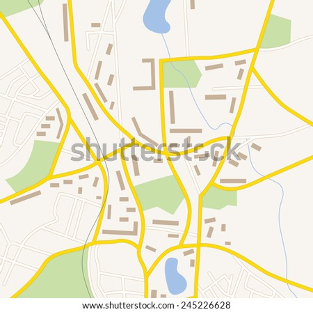Navigation map with buildings forest roads and lakes - stock vector