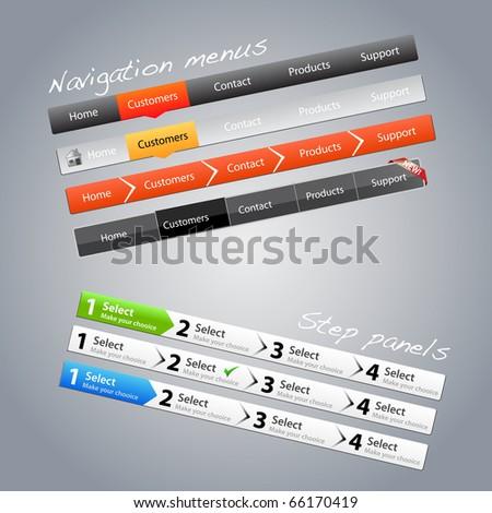 Navigation menus and step panels - stock vector