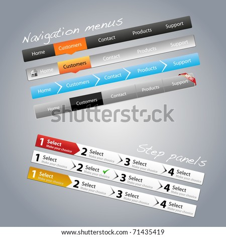 Navigation menus and step panels - stock vector