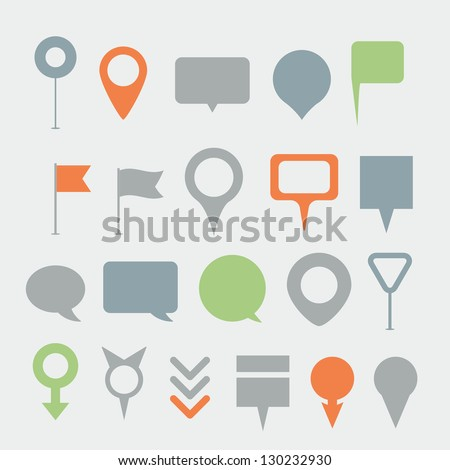 Navigation pins collection - stock vector