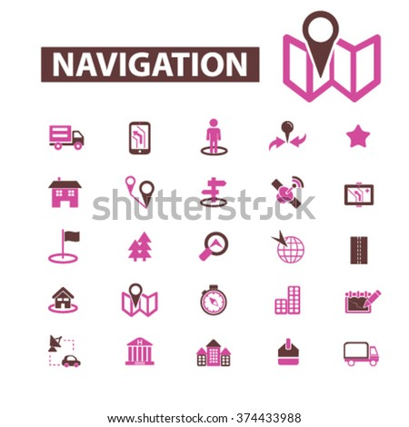 navigation, route, map, navigator  icons, signs vector concept set for infographics, mobile, website, application  - stock vector