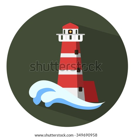 navigation sea tower icon - flat icon - stock vector