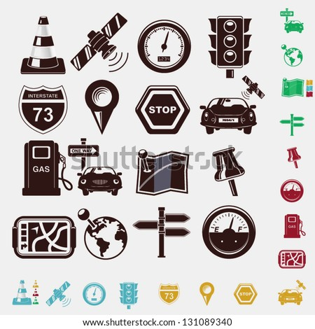 navigation set of icons - stock vector