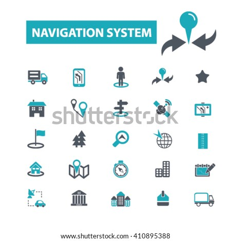 navigation system icons  - stock vector