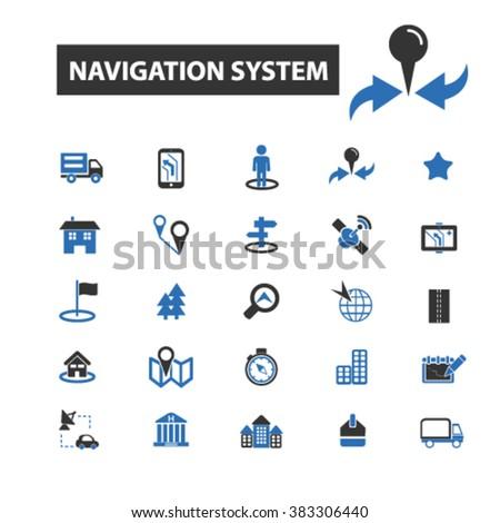 navigation system icons, navigation system logo, navigation system vector, navigation system flat illustration concept, navigation system infographics, navigation system symbols,  - stock vector