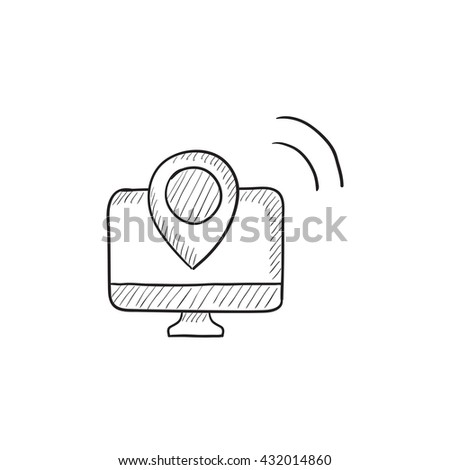 Navigation vector sketch icon isolated on background. Hand drawn Navigation icon. Navigation sketch icon for infographic, website or app. - stock vector